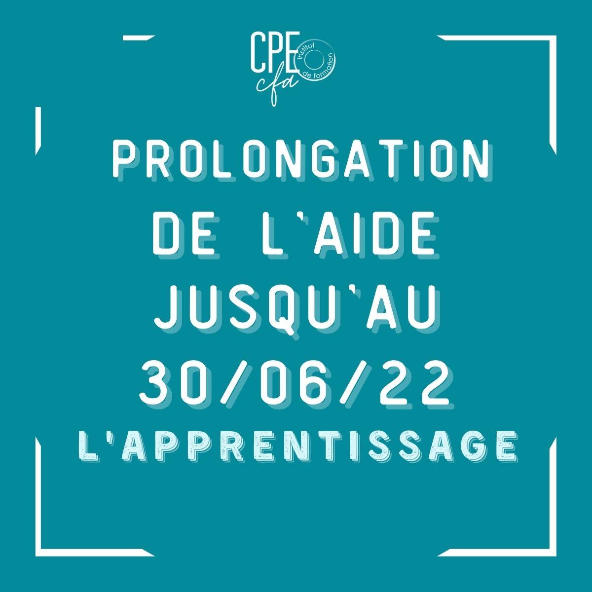 prolongation aide apprentissage 30 juin 2022